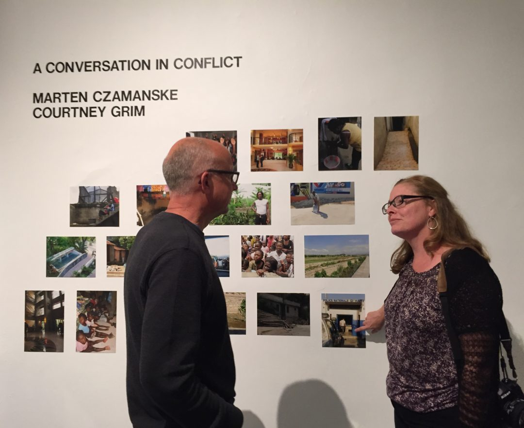 "Marten and Courtney at the opening reception for ""A Conversation in Conflict"""